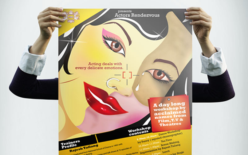 Creative chord designs Gallrey Indian Academy Dramatic Arts Poster Illustration Emotion